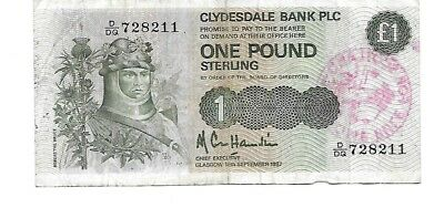 1987  Scotland  Clydesdale Bank PLC  1 Pound Sterling Note  FREE SCOTLAND NOW !