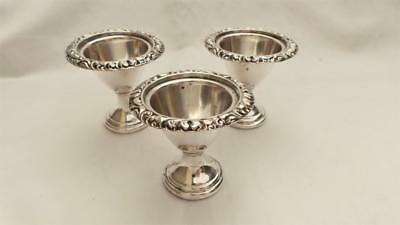 Lovely Trio / Set Of 3 Georgian Old Sheffield Plate Silver Mounted Egg Cups