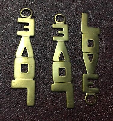 Vintage Raw Brass Large Block Letter Word LOVE Pendant Jewelry Findings Lot