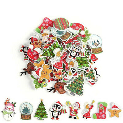 50Pcs Christmas Picture Mixed Color Wood Button Sewing Craft Decor CB