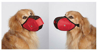 FABRIC MESH DOG MUZZLES Comfortable Soft Red Muzzle for Dogs That Bite or Chew