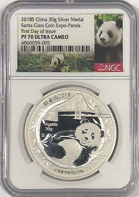 2018 S Ngc Pf70 Ucam First Day Issue Silver China Panda Santa Clara Coin Expo