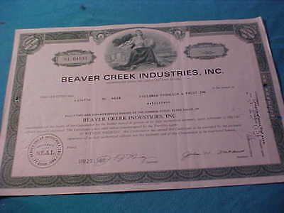 Old Stock Certificate Beaver Creek Industries Inc. 1969 30 Shares Iowa