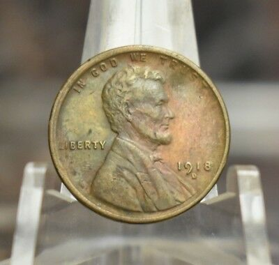 1918-D Lincoln Wheat Cent Extra Fine Circulated 1918 D 1C Penny US Type Coin