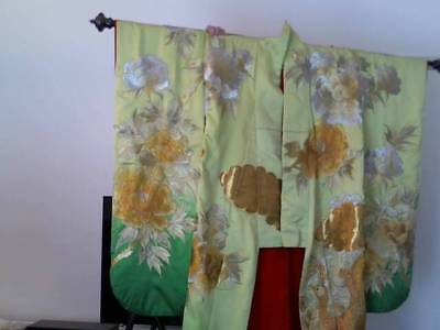 Kimono Dress Japan Furisode Hanayome Vintage 6' Silk Lined ,gold & Silver Thread
