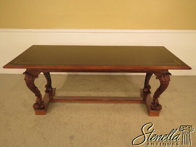 L23352E: Italian Carved Walnut Dining Room Table w. Decorated Black Glass Top