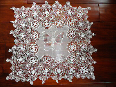 Antique 1890s Teneriffe Lace  Drawnwork and Embroidery Butterfly Large Ornate