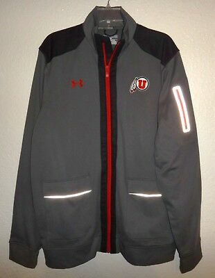 New Mens Xl Under Armour Loose Utah Utes Full Zip Sweatshirt Jacket Reflective
