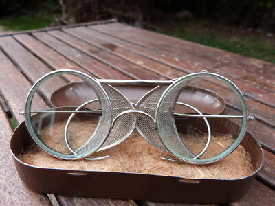Rare Pair Vintage Art Deco Metal Mesh Sided Fold Up Glasses Goggles Steampunk