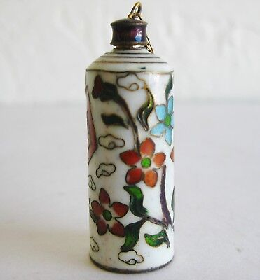 Fine Old Chinese Cloisonne Enamel Lidded Scent Perfume Snuff Bottle #3