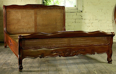 """Mahogany Louis Rattan 4' 6"""" Double Size Low End French Antique Style Bed New"""