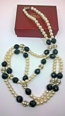 Vintage Jewellery Art Deco Style French Jet Crystal Glass Bead Flapper  Necklace
