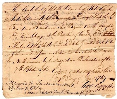 1767, General Cornelius Cuyler, signed French and Indian war discharge , 46th