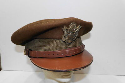 Early! WW2 US ARMY OFFICER VISOR HAT Chocolate FUR FELT Wool type LARGE 7-1/2 sz