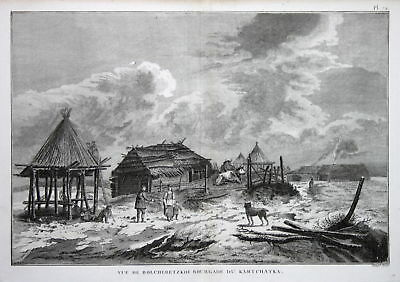 1785 Kamchatka Russia people houses Russland Kupferstich antique print Cook
