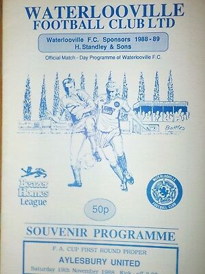 WATERLOOVILLE v AYLESBURY UNITED,19.11.88.FA Cup 1st round.