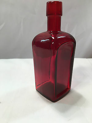 "Wheaton Glass Paneled Front & Back 5 3/4"" Ruby Red Bottle - Unmarked"