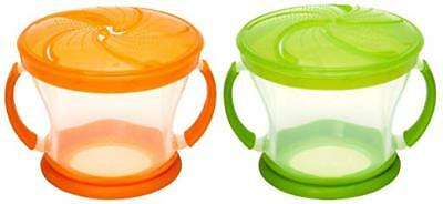 Munchkin 2 Piece Snack Catcher Blue/Green Spill-Proof Container BPA FREE