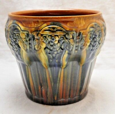 Antique Brush McCoy Art Pottery Jardiniere w Art Deco Grape Pattern