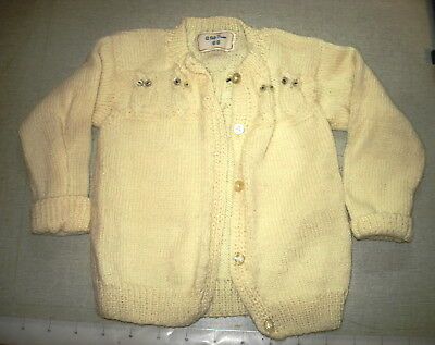Vintage Too Cute HAND KNITTED Infant Yellow Sweater With OWL DESIGNS NR