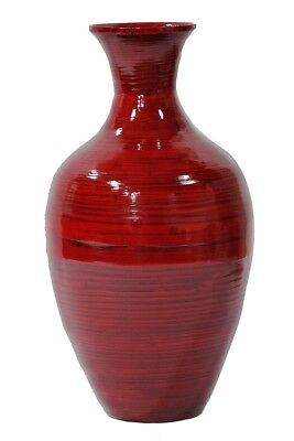 Heather Ann Creations W33954-ORD Jill 20 in. Spun Bamboo Vase - Red Lacquer