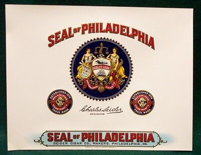 Vintage CIGAR BOX LABEL - SEAL of PHILADELPHIA  inner -  lot 20 labels