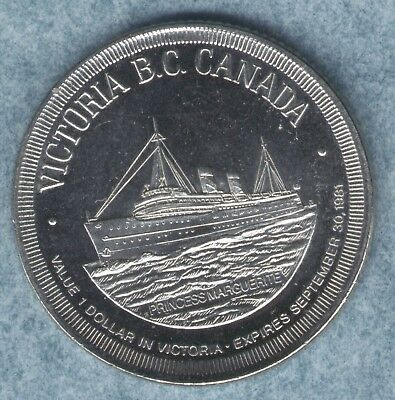 "Sailing Ship ""Princess Marguerite"" 1981 Victoria B.C. Canada $1 Trade Dollar"