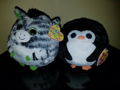 Ty Beanie Ballz Avalanche The Penguin Oasis Zebra Lot Retired With Tags