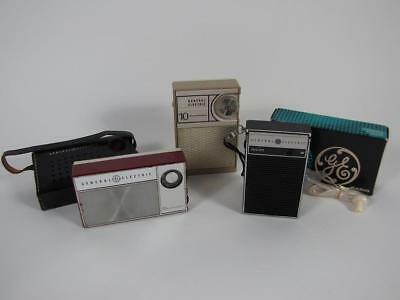 Lot 3 Vintage General Electric Pocket Transistor Radios P-1760 P-2790 P-1704B