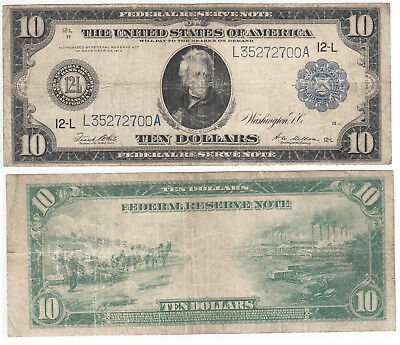 U.s. 1914 Large Size Federal Reserve Note Bank Of San Francisco Ca $10 Ten