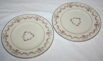 3 Arcadia Salad Plates Syracuse China Old Ivory Pink Floral Swags Cream Gold
