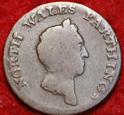 1795 Great Britain North Wales Farthing Token Foreign Coin