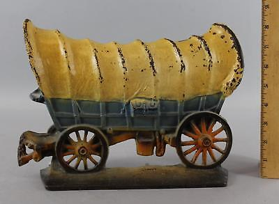 1930 Antique Western Painted Cast Iron Conestoga Covered Wagon Doorstop, NR