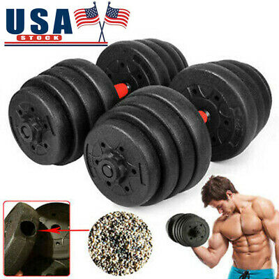Weight Dumbbell Set 66LB Adjustable Cap Gym Barbell Plates Body Workout Training