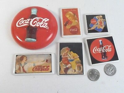 Vintage Coca Cola Collectible *1990's Porcelain & Ceramic Magnet Lot*
