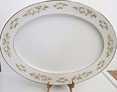 "International Silver Co 326 Springtime Oval Platter Serving 14 3/8"" x 10 5/8"""