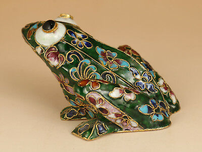 Big rare Cloisonne Old Handmade Painting Frog Figure Statue Home decoration