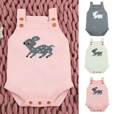 Infant Newborn Baby Boy Girl Knitted Christmas Deer Rompers Soft Jumpsuit Outfit