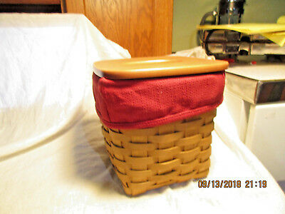 """Longaberger Tissue Basket With Liner & Lid-2003-Signed-6&1/2"""" Tall With Lid"""