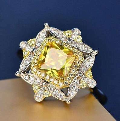 Natural Citrine Gemstone Ring w/White Spinel Accents - 925 SS!!