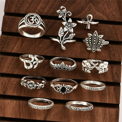 Ancient Silver Bohemian Female Rose Elephant Cross Joint Ring Set New Popular OE