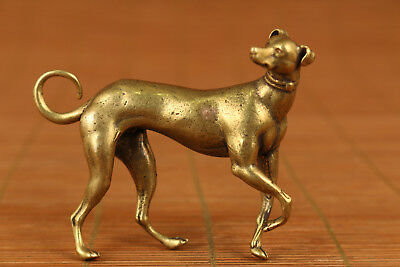 Chinese Vintage solid copper Handmade Carved Dog Figure Statue home deco
