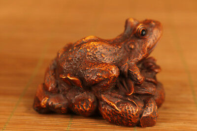 Rare Chinese Old Boxwood Hand Carved Frog Statue Figure Netsuke decoration