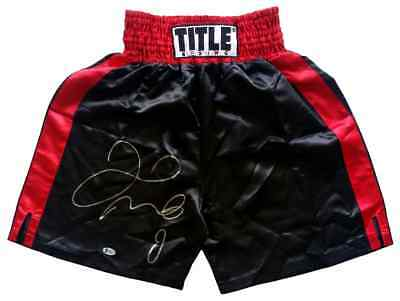 Floyd Mayweather Jr Signed Red TITLE Boxing Trunks Beckett BAS