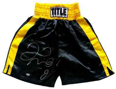 Floyd Mayweather Jr Signed Black And Yellow TITLE Boxing Trunks Beckett BAS