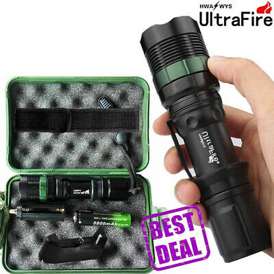 Tactical zoomable 50000LM T6 LED 18650 Light Flashlight Torch 18650 Charger Case