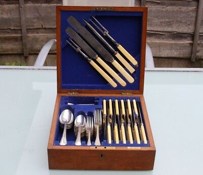 Antique Walker Hall Silver Plated Cutlery Canteen Tiger Oak Box Traditional E In