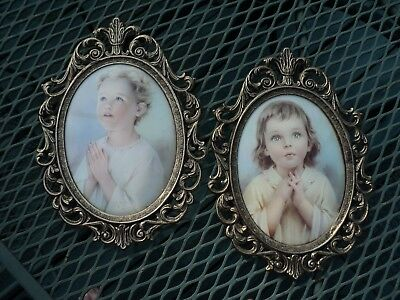 Pair of Antique colored Gold Metal Oval Framed Bubble Glass Praying Boy and Girl
