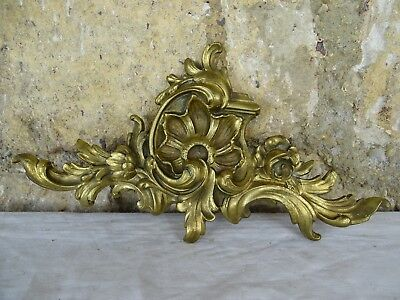"11"" Antique French Bronze Plaque Pediment Louis XV Style - Shell Flowers"