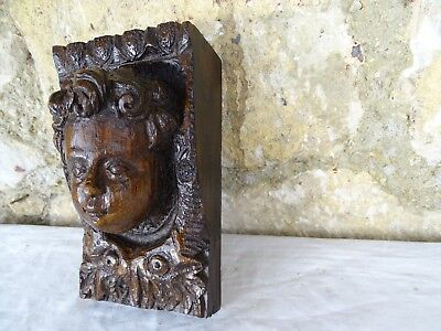 "6.5""  French Antique Corbel Hand Carved Oak Wood Trim Salvage Cherub Angel Head"